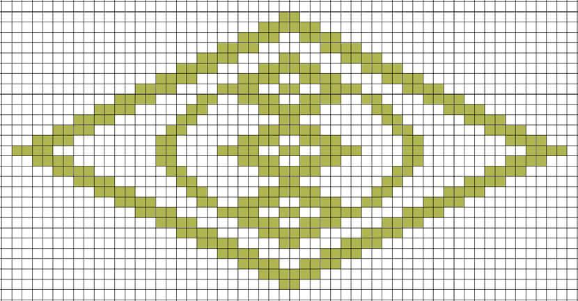 菱刺し「扇の紋こ」図案