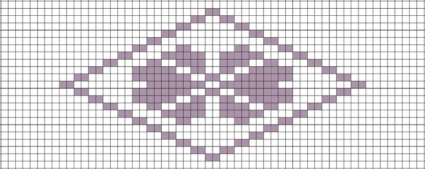 菱刺し「梅の花」図案